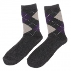 Rhombus Style Winter Men's Wool Cotton Socks - Black + Purple + Beige (Pair)