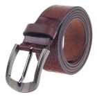Rich Age Stylish Stone Pattern Men's Head Layer Cowhide Leather Belt w/ Zinc Alloy Pin Buckle -Brown