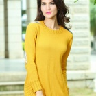 27513-1 Stylish Round Neck Knitted Sweater Dress - Yellow (Size-M)
