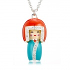 EQute PPEW184C99 Cute Japanese Doll Hand-painted Drawing Pendant Necklace - Multicolored (32