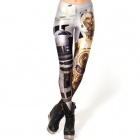 Elonbo Y1A12 Golden Warrior Style Digital Painting Tight Leggings - Black + Golden (Free Size)
