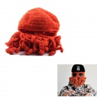 PANNOVO Hand-made Cute Octopus Outdoor Thermal Windproof Caddice Balaclava Helmet Cap Hats - Orange