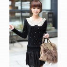 Fashionable Haired Doll Sequined Collar Slim Bottoming Sweater - Black (Free Size)
