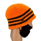 Beard Style Winter Wool Hat - Orange + Green