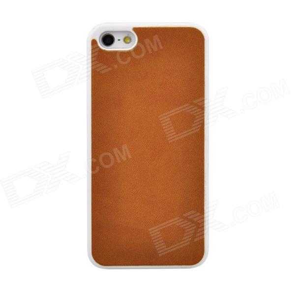 Angibabe ATHENA-LB Protective PU Leather + PC Back Case for Iphone 5 / 5s - Light Brown nillkin englon leather coated hard pc back case for iphone 7 plus 5 5 inch brown