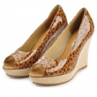 VILOWA c1103 Fashion Leopard Print Peep-toe Wedge Shoes for Women - Brown (EUR Size 38)