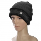 Casual Men's Autumn and Winter Warm Woolen Yarn Hat - Grey + Black