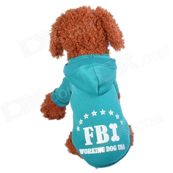 FBI Working Dog Pattern Warm Pet Hoodie Clothes - Green (Size-M)