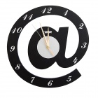 Stylish Alphabet Wall Clock - Black + White (1 x AA)