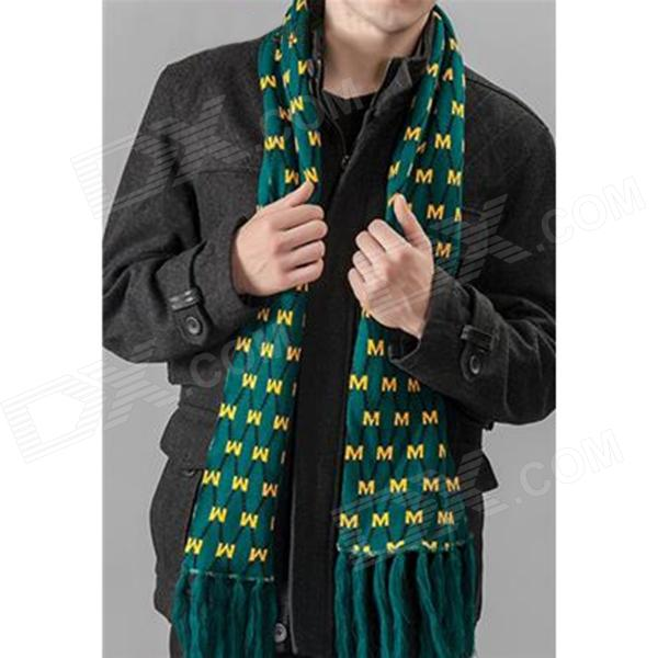 Fashion Woolen Yarn Warm Scarf for Men - Green + Yellow