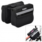 FJQXZ Outdoor Cycling Bike Top Tube Nylon Double Storage Bags - Black (12L)