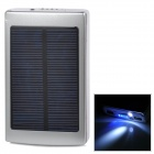 Portable 5V 1A / 2.1A Li-ion Battery / Solar Power Bank w/ Dual USB / LED - Silver