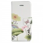 Protective PU + Plastic Flip-Open Case w/ Stand for Iphone 5S / 5G - White + Light Green