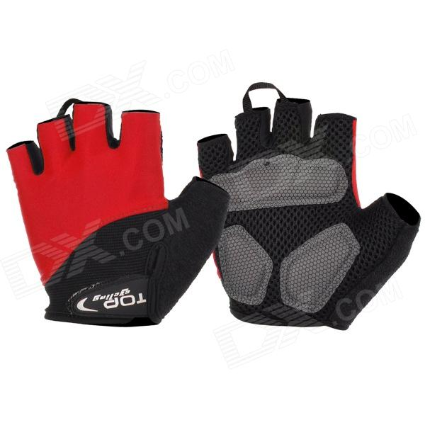 TOPCYCLING Outdoor Sports Cycling Lycra Half-Finger Gloves - Red + Black (Pair / Size L)