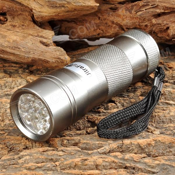UltraFire BD0010 1W 450nm 12-LED Purple Flashlight - Silver Grey (3 x AAA)