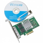 Winyao WY580-T4 PCI-e X4 4-Port Intel 82580 adaptador Network Cartão - Verde