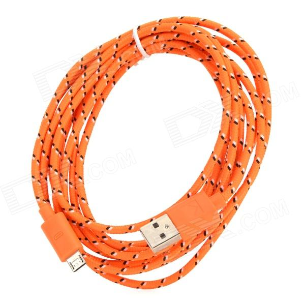 USB 2.0 to Micro USB Data Charging Nylon Cable for Amazon Kindle Fire / Paperwhite - Orange + White 103b universal usb to micro usb data charging cable for samsung htc more deep pink 100cm