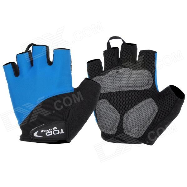цена TOPCYCLING Outdoor Sports Cycling Lycra Half-Finger Gloves - Blue + Black (Pair / Size L)
