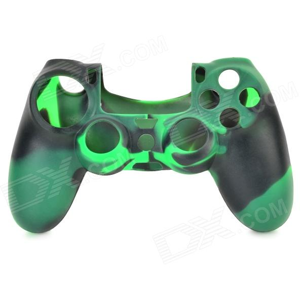 Protective Silicone Anti-Slip Case for PS4 Game Console Controller - Black + Green protective silicone case for ps4 controller camouflage green