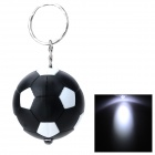 PZCD PZ-15 Football Style 1-LED Mini Flashlight Keychain - Black + White (3 x AG3 included)
