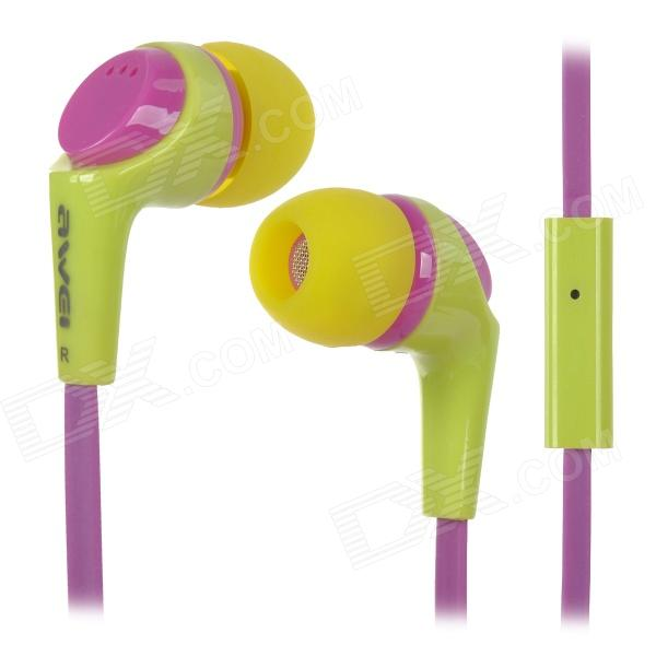 Awei Q6i Super Bass In-Ear Earphone w/ Mic - Yellow + Purple (3.5mm Plug)