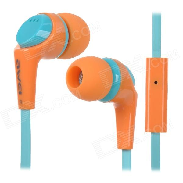 Awei Q6I 3.5mm Plug In-Ear Earphone w/ Microphone - Blue + Orange
