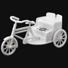HY-S17 3-wheel Bike Style 0.8'' LCD R/C Speaker w/ USB Flash Disk / TF / FM / LED Rear Lamp - White