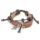 UBE UTY QNW2001 Cross Bead Style Leather Bracelet - Black Grey + Silver