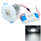 11W 930lm 6500K COB LED White Ceiling Light - White + Silver (AC 100~240V)