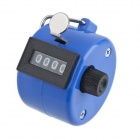4-Digit Chrome Hand Tally Counter - Black + Blue