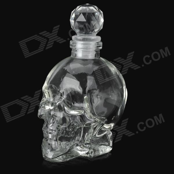 Skull Head Style Glass Liquid Container Bottle - Transparent