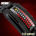 SKMEI 1013 30m Waterproof Zinc Alloy 3D Mirror LED Machine Core Digital Watch - Black (1 x CR1632)
