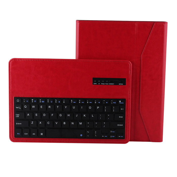 Wireless Detachable Bluetooth V3.0 64-Key Keyboard w/ PU leather Case for Ipad AIR - Red 84 key bluetooth v3 0 keyboard w detachable pu case for ipad air green