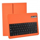 Wireless Detachable Bluetooth V3.0 64-Key Keyboard w/ PU leather Case for iPad Air - Orange