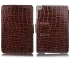 Angibabe Crocodile Pattern PU Leather Case Stand w/ Auto Sleep Cover for Retina Ipad MINI - Brown