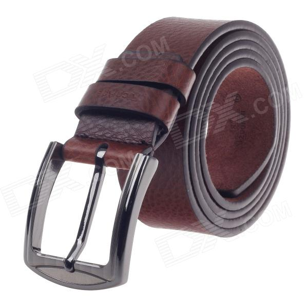 Rich Age Lichee Pattern Men's Cow Split Leather Belt w / Zinc Alloy Pin buckle - Brown pouchkan stylish cow leather men s belt with zinc alloy buckle black