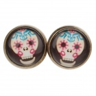 Skull Pattern Ancient Palace Bronze Ear Studs - White + Black + Pink (Pair)