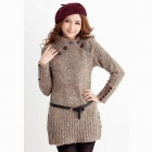 Fashionable Women's Long Turtle Neck Long Sleeve Slim Fit Sweater - Khaki (Free Size)