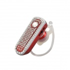 SAENKDEA 668 Bluetooth V3. 0 Stylish Diamond-studded Music Bluetooth Headset - Red + Silver