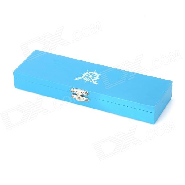 8903 Creative Wood Stationery Storage Pencil Box - Blue