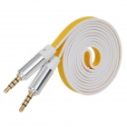 3.5mm Male to Male Noodle Style Audio Cable - White + Yellow (120cm)