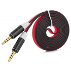 3.5mm Male to Male Noodle Style Audio Cable - Red + Black (120cm)