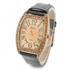 Crystal Square Dial PU Leather Band Quartz Wrist Watch for Women - Black + Golden (1 x SR626)