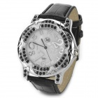 Crystal Flower Style PU Leather Quartz Wrist Watch for Women - Black (1 x SR626)