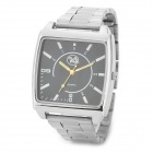 Men's Square Shape Dial Stainless Steel Band Quartz Wrist Watch - Silver + Black (1 x SR626)