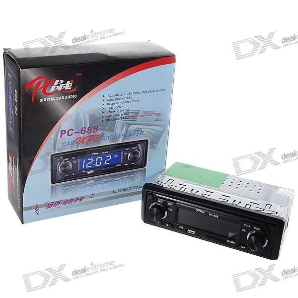 "In-Dash Stereo 2.7"" LCD SDHC/SD MP3 Player + AM/FM Radio with USB Host"