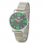 Ultra Thin Round Dial Stainless Steel Band Quartz Watch for Men - Silver + Green (1 x SR626)