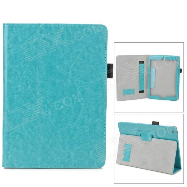 все цены на Protective PU Leather Case w/ Hand Strap Holder for Ipad AIR - Lake Green онлайн