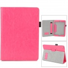 Protective PU Leather Case w/ Hand Strap Holder for Ipad AIR - Deep Pink