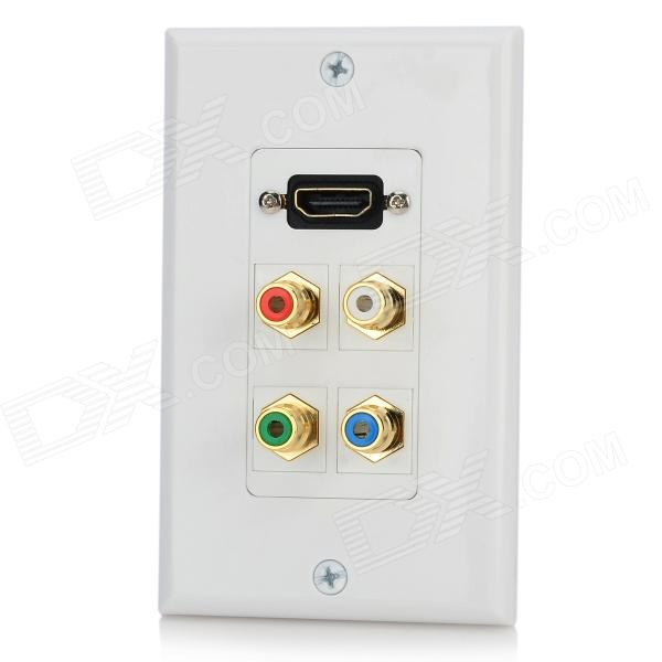 HD4 HDMI + Video Audio Wall Mounted Socket Panel - White + Multicolored white square wall mounted three phase four wire outlet socket plate 380vac 25a